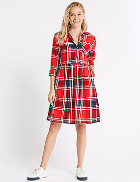 Pure Cotton Checked Drop Waist Dress , RED MIX, catlanding