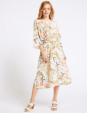 PETITE Floral Print Tunic Midi Dress , IVORY MIX, catlanding