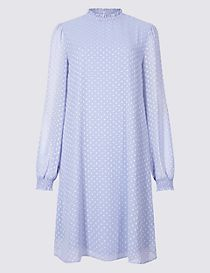 Spotted Long Sleeve Swing Dress