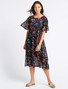 Floral Print Half Sleeve Skater Midi Dress , NAVY MIX, catlanding