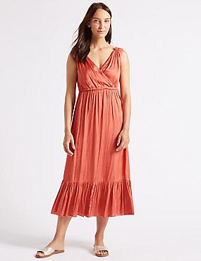 Satin Tiered Slip Midi Dress , COPPER ROSE, catlanding