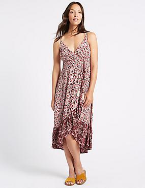 Floral Print Ruffle Wrap Midi Dress, MULTI, catlanding