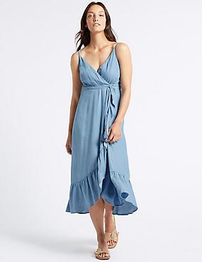 Ruffle Wrap Midi Dress, CHAMBRAY, catlanding