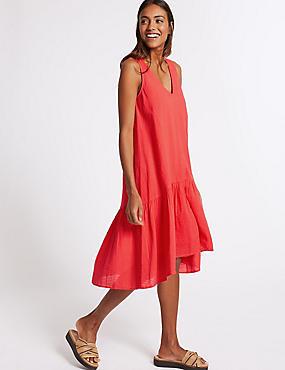 Pure Cotton Checked Peplum Midi Dress , FLAME, catlanding