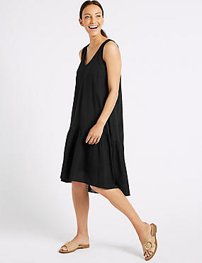 Pure Cotton Checked Peplum Midi Dress , BLACK, catlanding