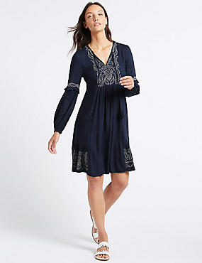 Embroidered Long Sleeve Swing Dress , NAVY, catlanding