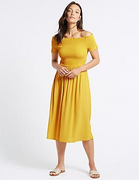 Short Sleeve Bardot Midi Dress  , YELLOW, catlanding