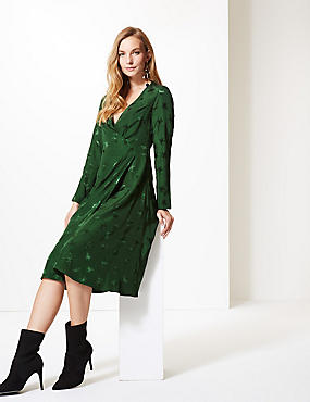 Embroidered Long Sleeve Wrap Midi Dress , GREEN, catlanding