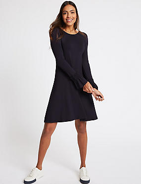 Ruffle Sleeve Swing Dress , NAVY, catlanding