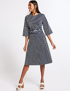 Pure Cotton Striped Tie Waist Tunic Dress , BLUE MIX, catlanding