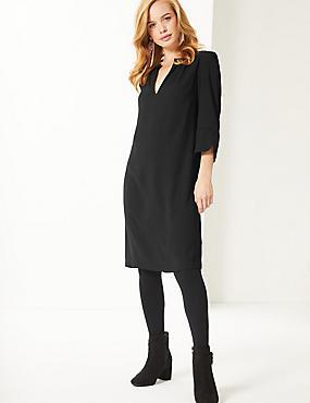 PETITE Satin 3/4 Sleeve Shift Dress  , BLACK, catlanding
