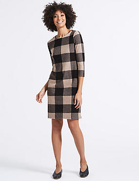 Checked 3/4 Sleeve Tunic Dress, PINK MIX, catlanding