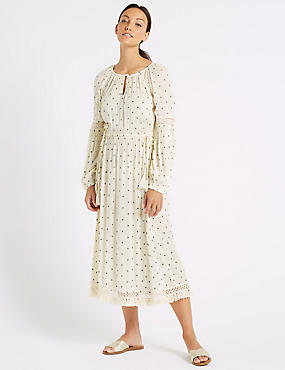 Printed Long Sleeve Fringe Detail Midi Dress, IVORY MIX, catlanding