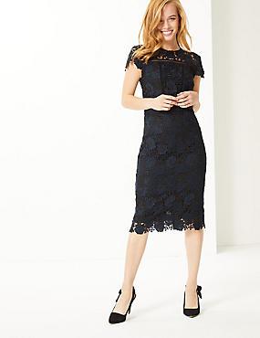 PETITE Lace Cap Sleeve Bodycon Midi Dress , NAVY, catlanding