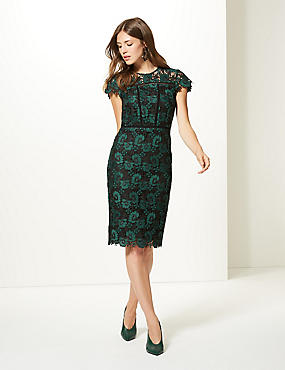 Lace Cap Sleeve Bodycon Midi Dress, BOTTLE GREEN, catlanding
