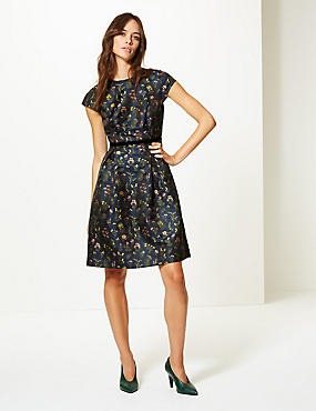 Floral Print Cap Sleeve Skater Dress , NAVY MIX, catlanding