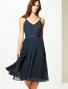 Embellished Skater Midi Dress , NAVY, catlanding