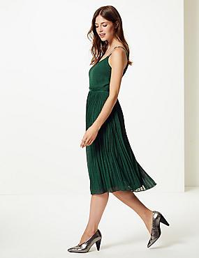 Embellished Skater Midi Dress , GREEN, catlanding