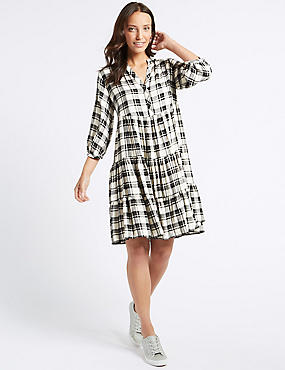 Checked Half Sleeve Skater Dress, BLACK MIX, catlanding