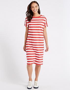 Cotton Rich Striped T-Shirt Midi Dress , , catlanding