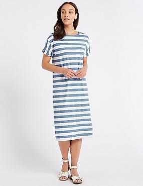 Cotton Rich Striped T-Shirt Midi Dress , CHAMBRAY MIX, catlanding