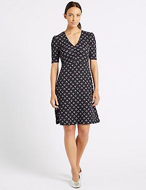 Floral Print Jersey Half Sleeve Tea Dress , NAVY MIX, catlanding