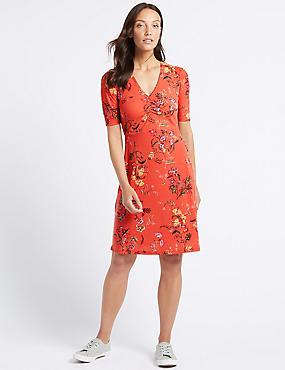 Jersey Floral Print Half Sleeve Tea Dress, CORAL MIX, catlanding
