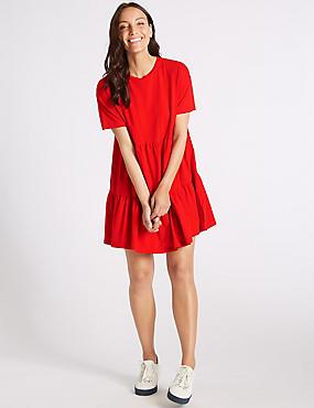 Pure Cotton Half Sleeve Tunic Dress , BRIGHT RED, catlanding