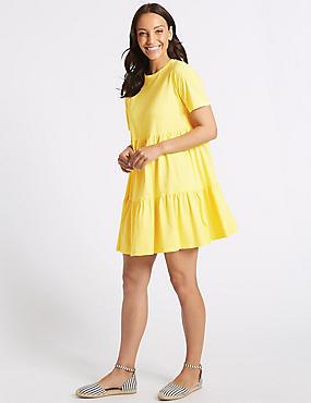 Pure Cotton Half Sleeve Tunic Dress , YELLOW, catlanding