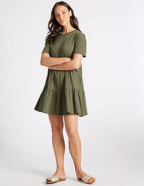 Pure Cotton Half Sleeve Tunic Dress , BAYLEAF, catlanding