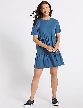 Pure Cotton Half Sleeve Tunic Dress , INDIGO, catlanding