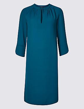 Satin 3/4 Sleeve Tunic Midi Dress , DARK MARINE, catlanding