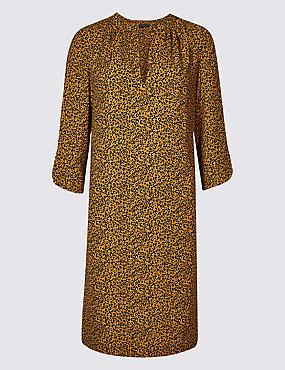 Satin Animal Print Tunic Midi Dress, YELLOW MIX, catlanding