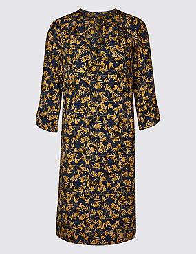 Satin Floral Print Tunic Midi Dress, NAVY MIX, catlanding