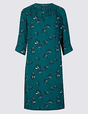Satin Floral Print Shift Dress, GREEN MIX, catlanding