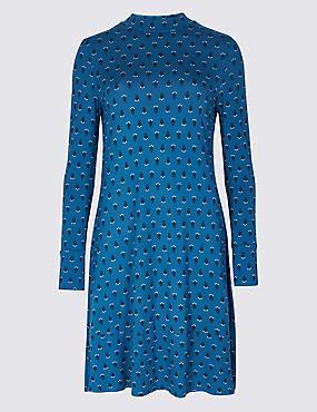 PrintedLong SleeveSwing Dress, BLUE MIX, catlanding