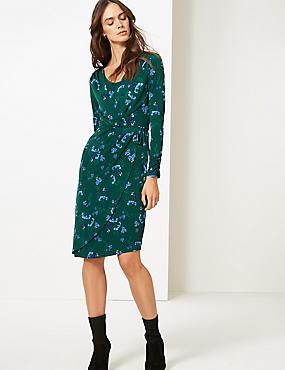 Floral Print Long Sleeve Wrap Midi Dress , GREEN MIX, catlanding