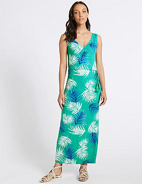 Palm Print Slip Maxi Dress