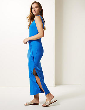 Ruched Front Slip Maxi Dress , BRIGHT BLUE, catlanding