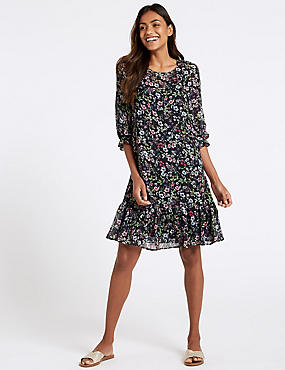 Floral Print 3/4 Sleeve Tunic Dress , BLACK MIX, catlanding