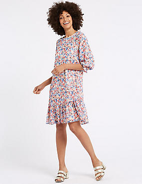 Floral Print 3/4 Sleeve Tunic Dress , IVORY MIX, catlanding