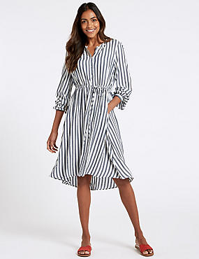 Striped Long Sleeve Tunic Midi Dress