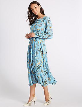 Floral Print Long Sleeve Skater Midi Dress , BLUE MIX, catlanding