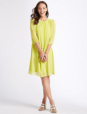 Spotted 3/4 Sleeve Tunic Dress , LIME, catlanding