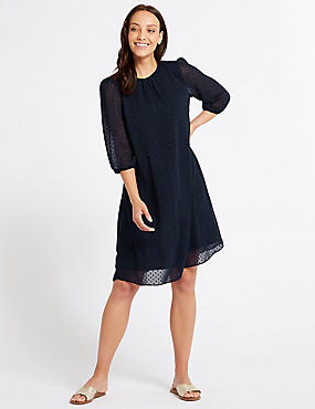 Spotted 3/4 Sleeve Tunic Dress , NAVY, catlanding