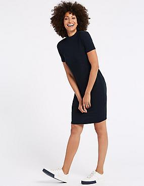 Textured Jersey Short Sleeve Bodycon Dress , NAVY, catlanding