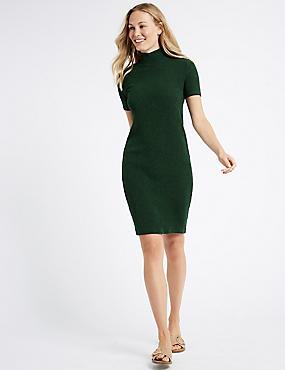 Textured Jersey Short Sleeve Bodycon Dress , GREEN, catlanding