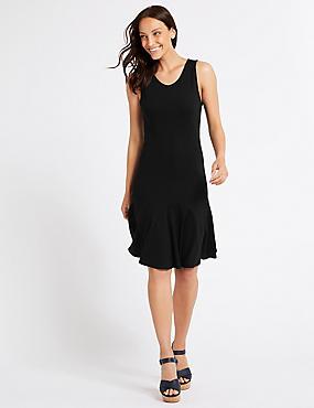Flippy Ponte Fit & Flare Dress, BLACK, catlanding