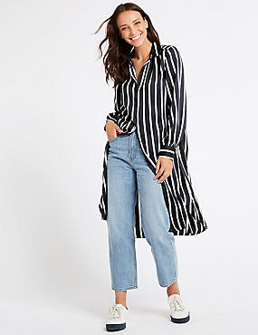 Striped Long Sleeve Shirt Midi Dress, NAVY MIX, catlanding
