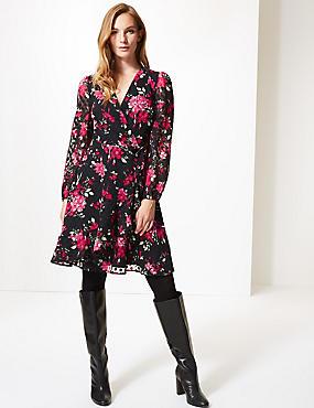 Spotted Long Sleeve Wrap Dress , BLACK MIX, catlanding